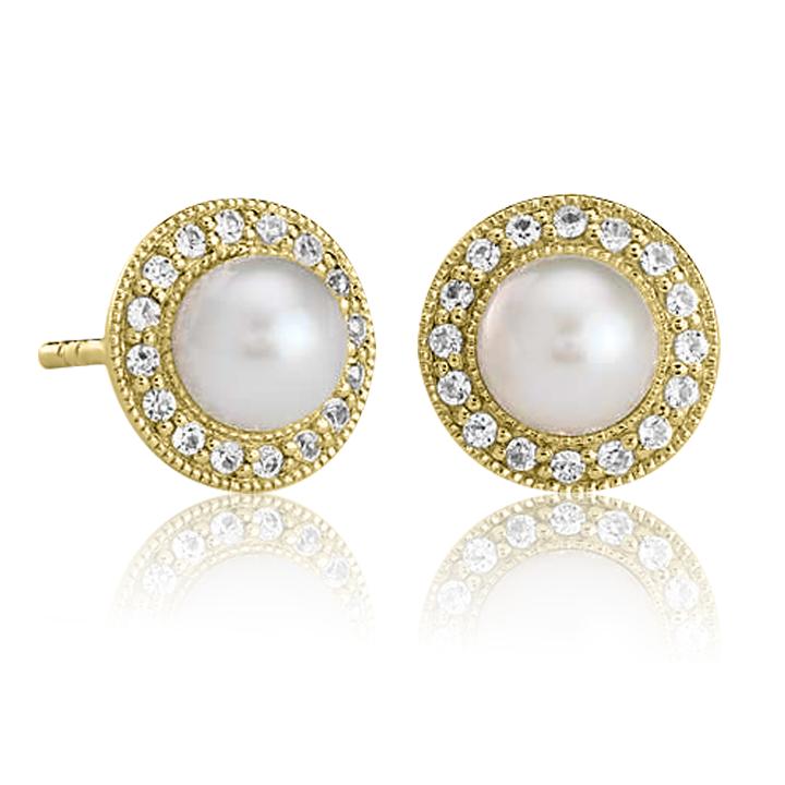 Золоті сережки з перлами «Dzhiempiro»