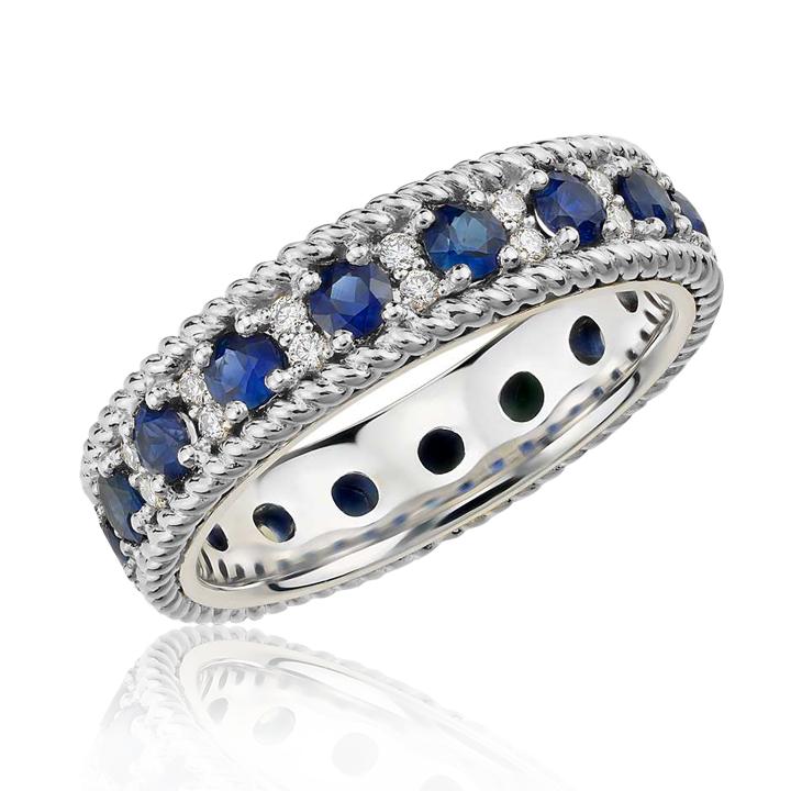 Эксклюзивное кольцо с сапфирами и бриллиантами