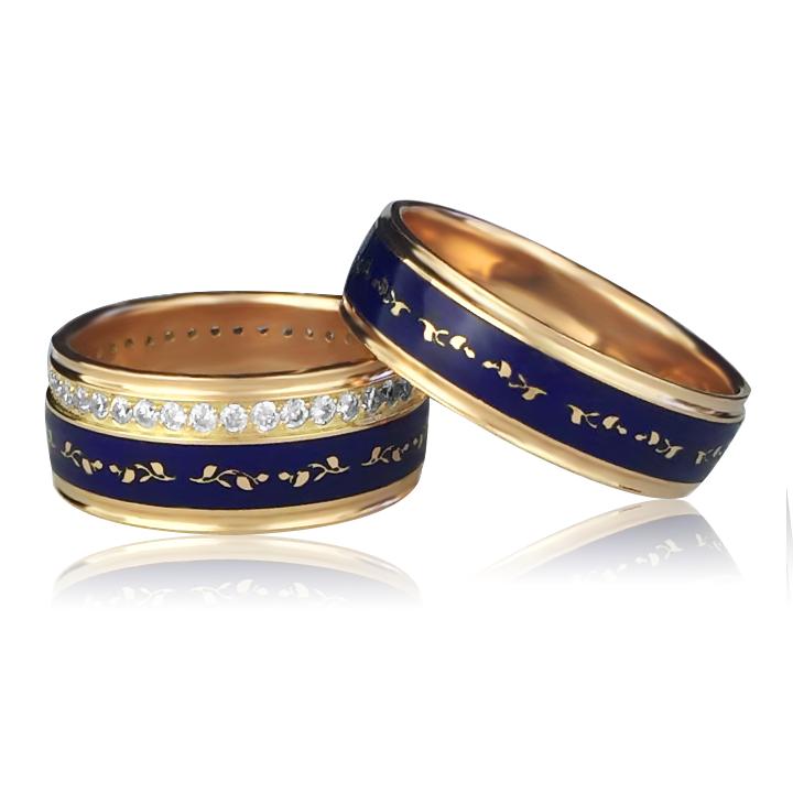 Золотое обручальное кольцо с цирконием «Lui pino»