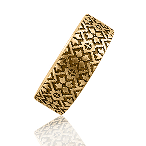 Золота обручка з гравіюванням «Вишиванка»