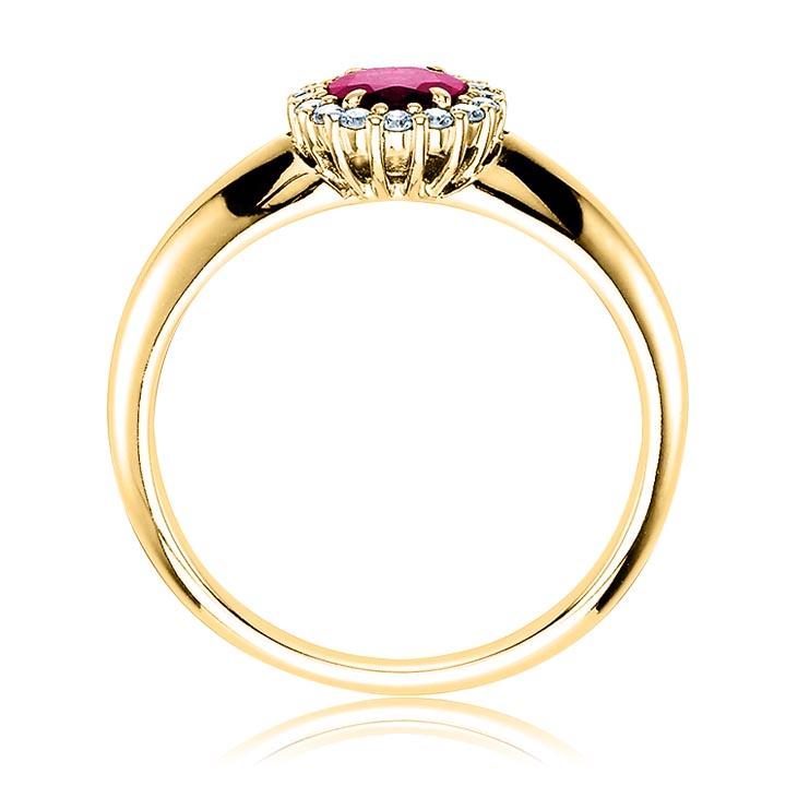 Кольцо из золота с рубином «Viennese waltz»