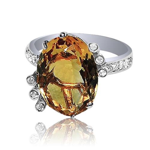 Золоте кільце з цитрином «Лісове озеро»