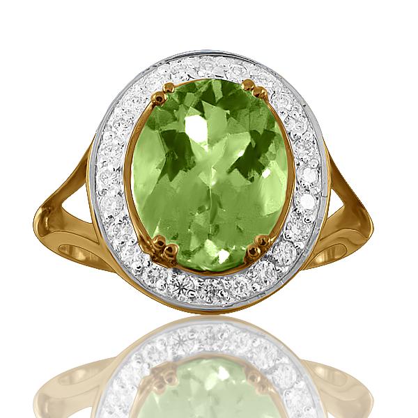 Золотой перстень с крупным хризолитом «Никозия»