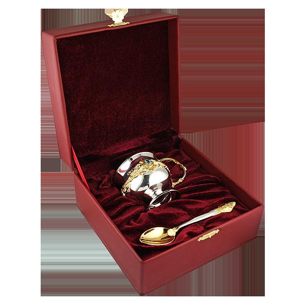 Чайна кружка з срібла з ложкою «Теплий вечір»