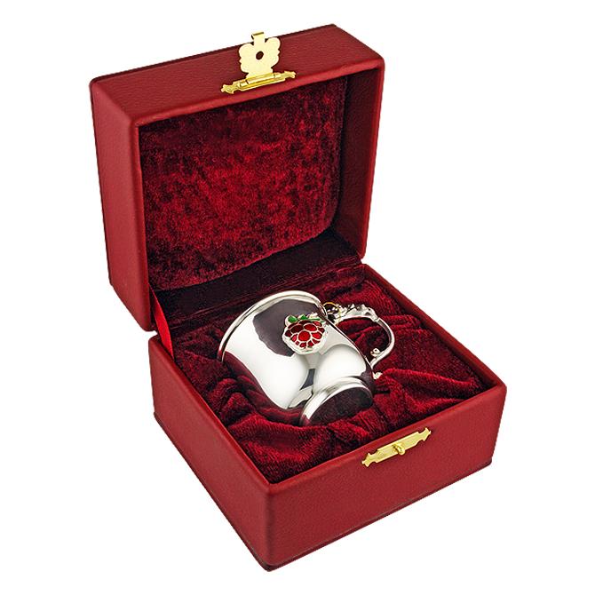 Серебряная детская кружка «Мишка и малинка»