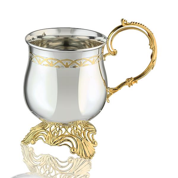 Кружка кавова з срібла з позолотою «Латте»