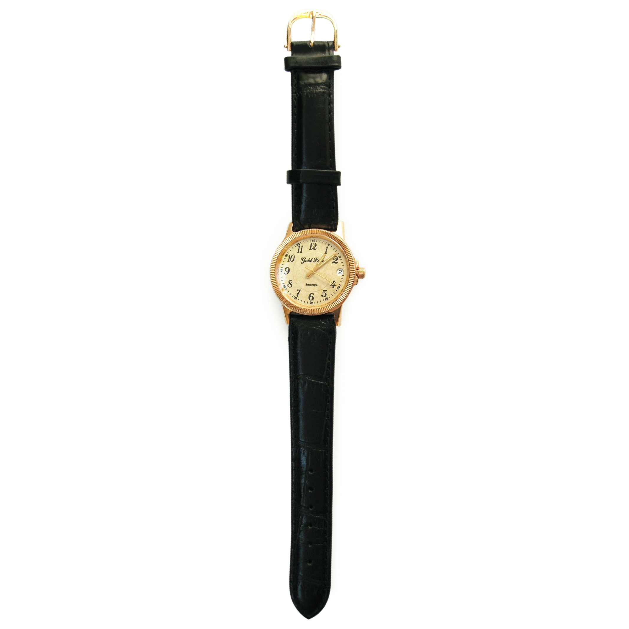 Золотий годинник зі шкіряним ремінцем