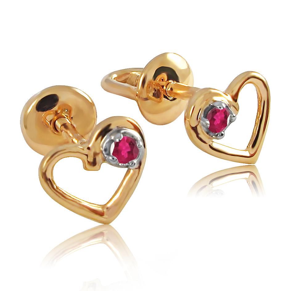 Золотые серьги сердечки с рубином «День Святого Валентина»