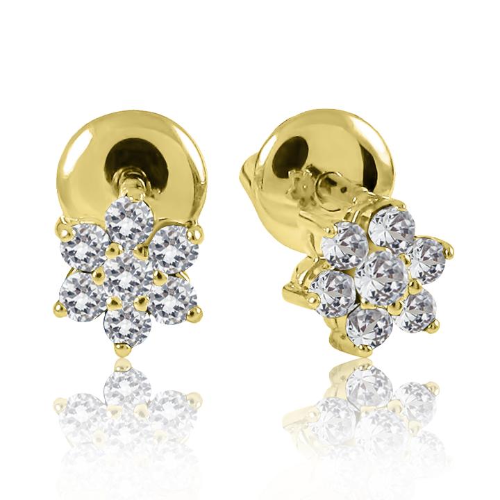 Золотые серьги гвоздики «Бриллиантовый цветочек»