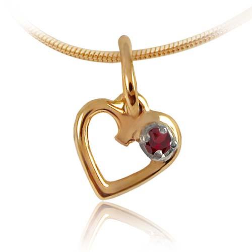 Золотой кулон сердце с гранатом «День Святого Валентина»