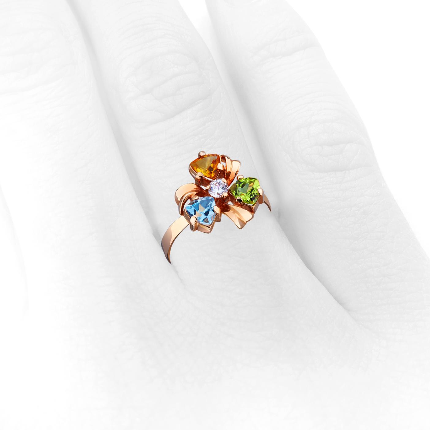 Каблучка «Анютині вічка» з кольоровим камінням