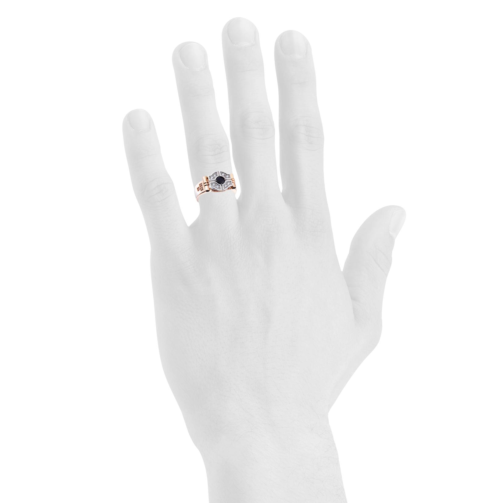 Чоловічий перстень з сапфіром фото