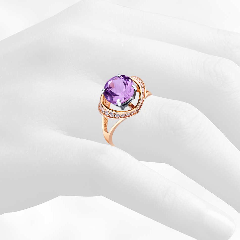 кольцо с аметистом и цирконами