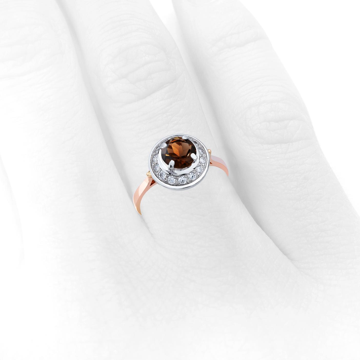Золотое кольцо с раухтопазом «Прекрасная царевна II»