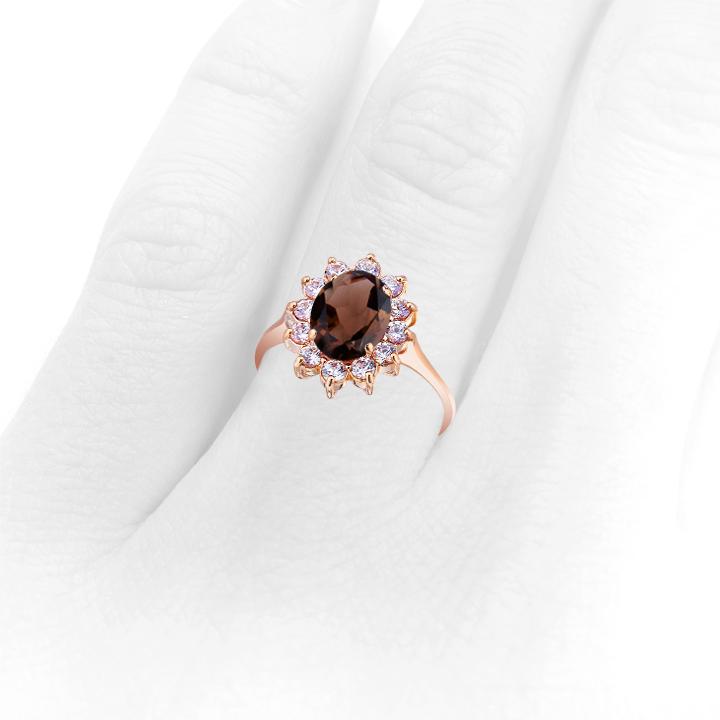 Золотое кольцо с раухтопазом «Ажур»