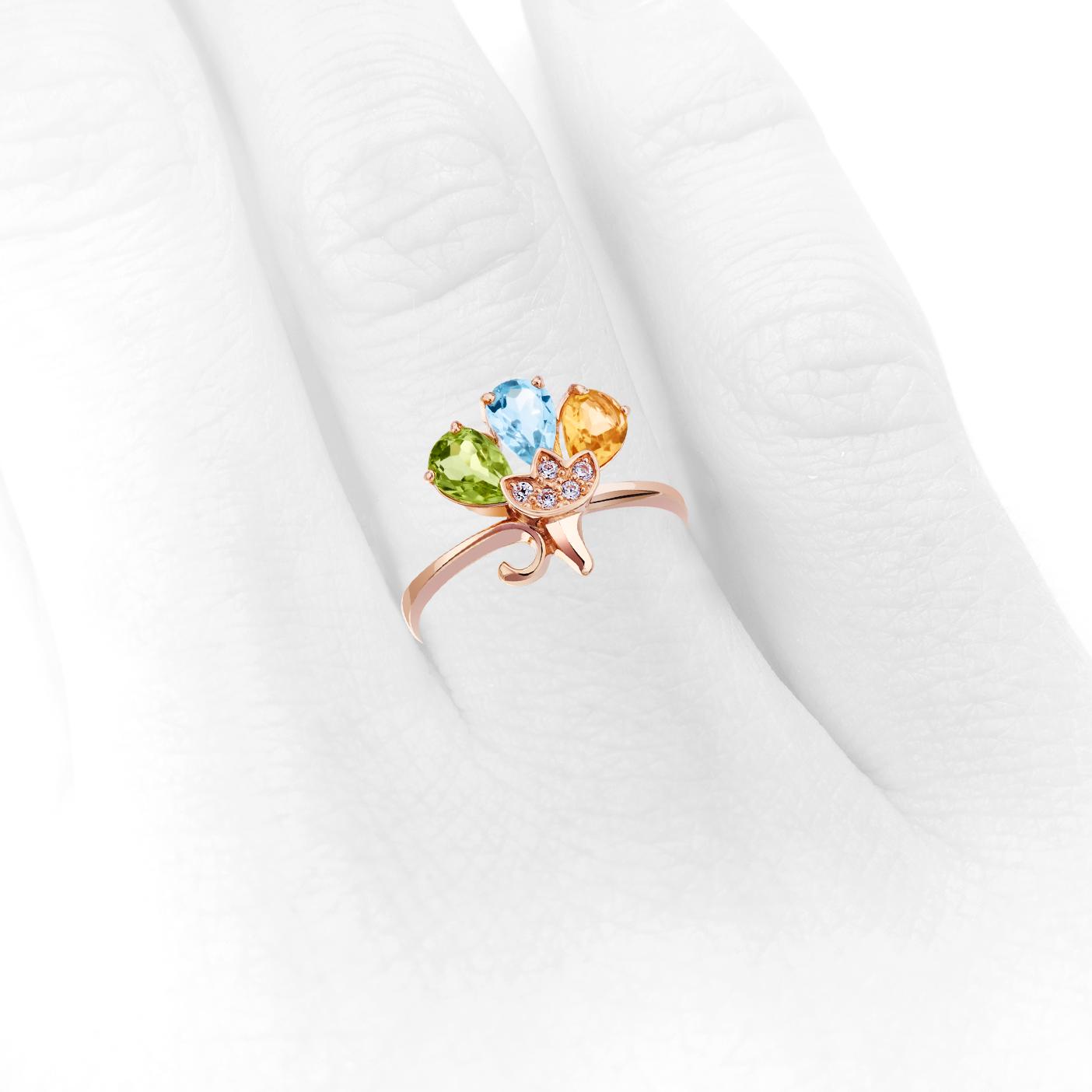 Золота каблучка з кольоровим камінням «Метелик»