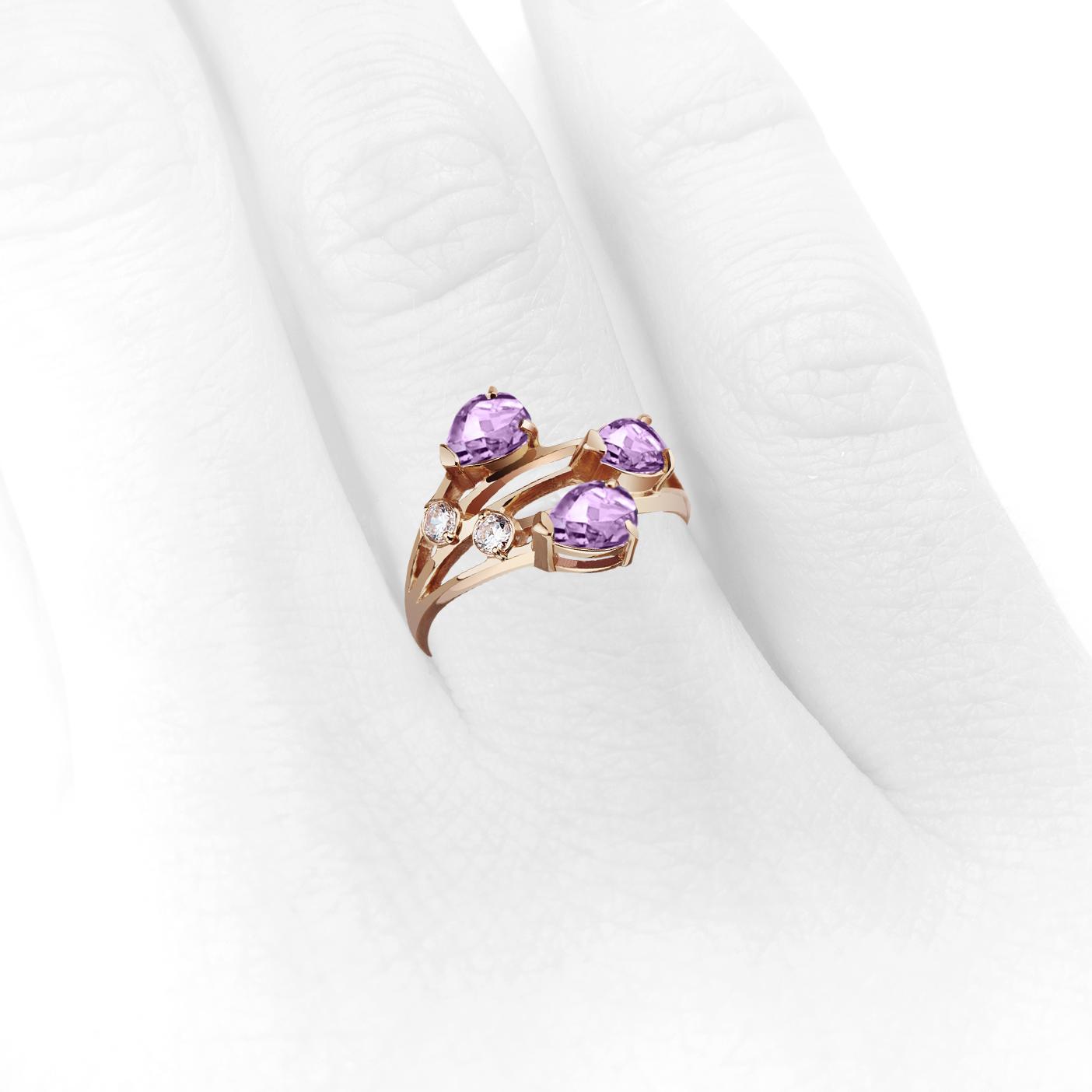Золотое кольцо с аметистами «Весеннее»