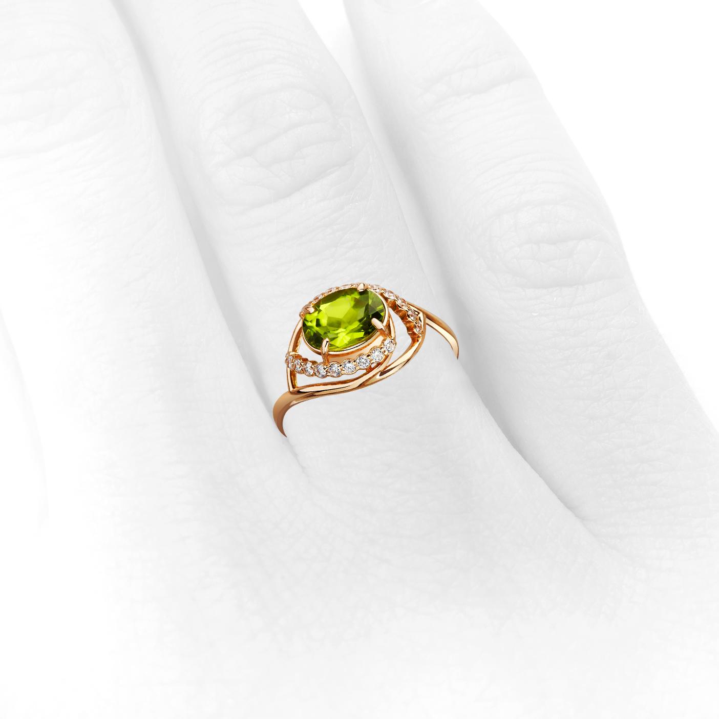Золотое кольцо с хризолитом «Персефона»