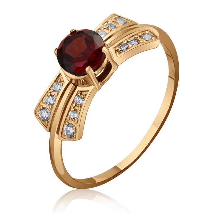 Золотое кольцо с гранатом «Герцогиня»