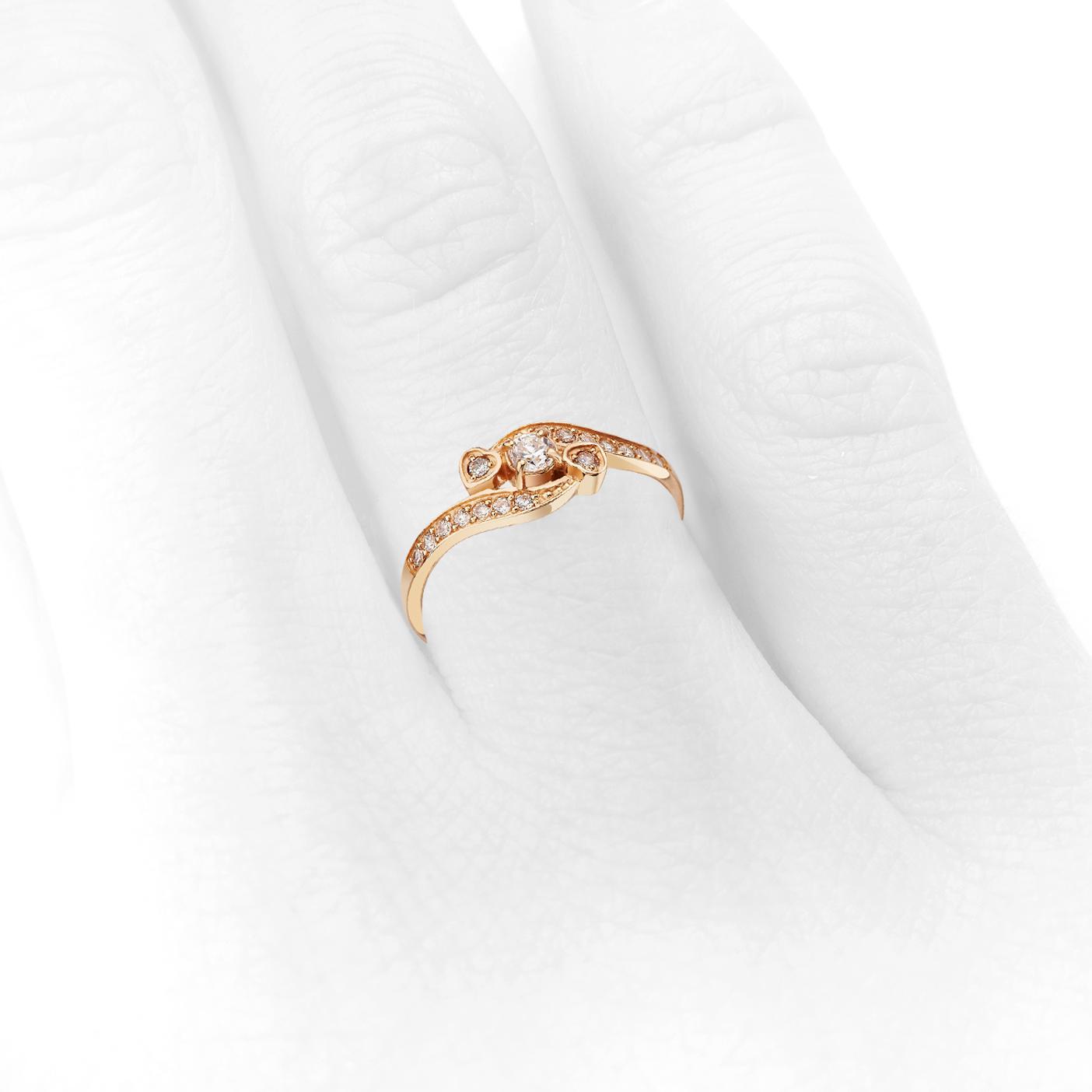 Кольцо с цирконием в сердечках «Valentine»