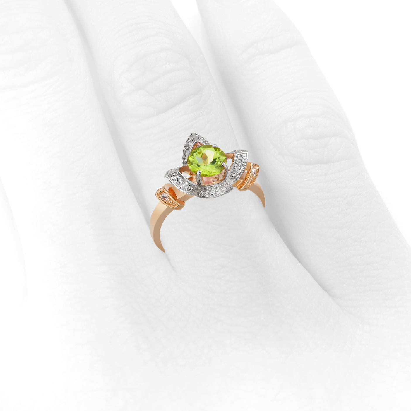 Золотое кольцо c хризолитом «Юния»