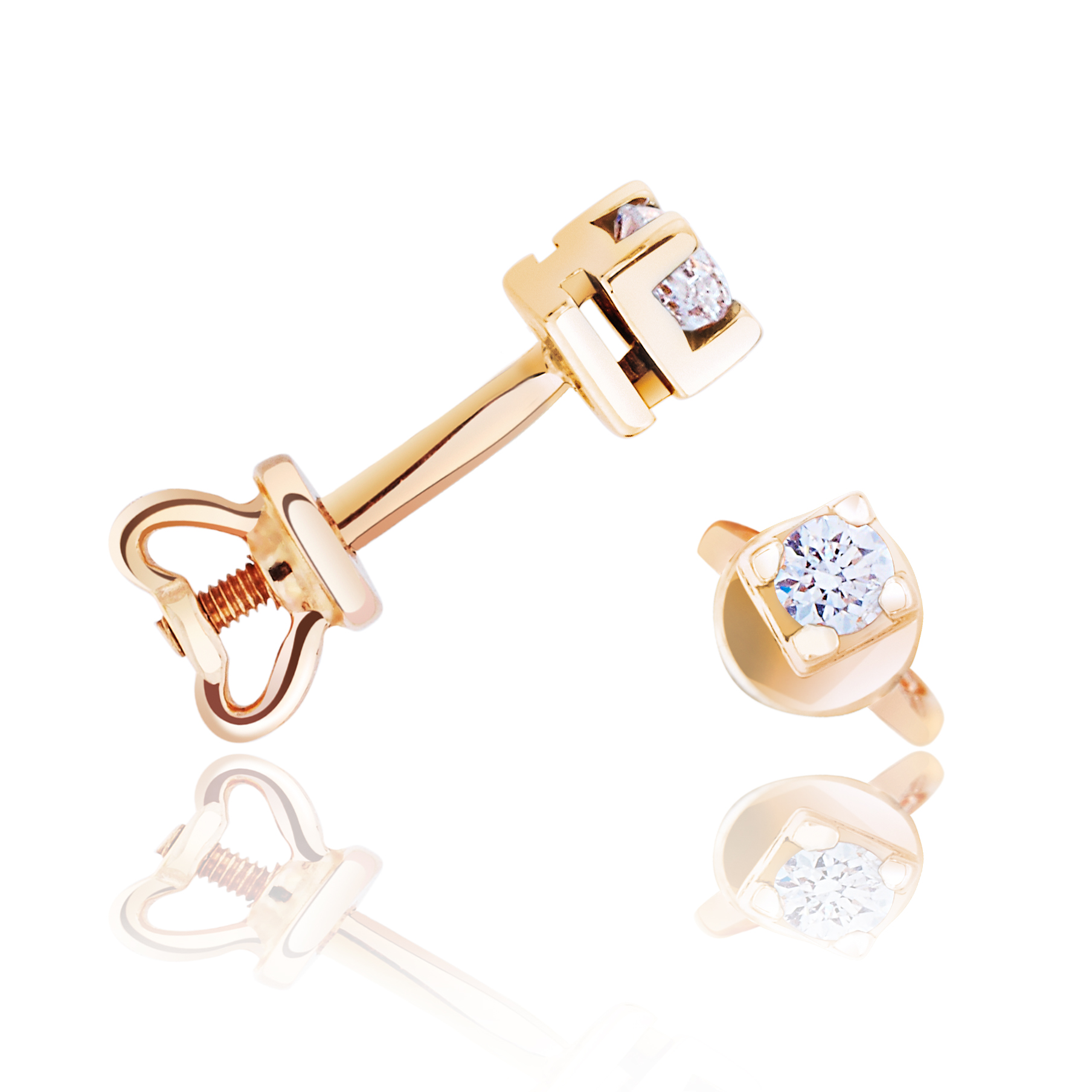 Гвоздики с бриллиантами в золоте