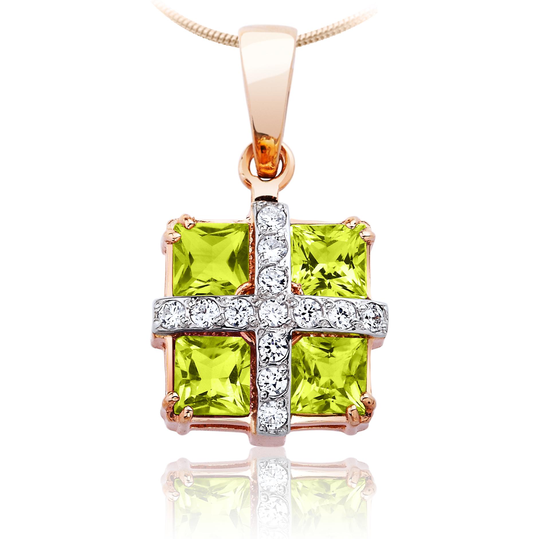 Золотой кулон с хризолитами  «Праздник»