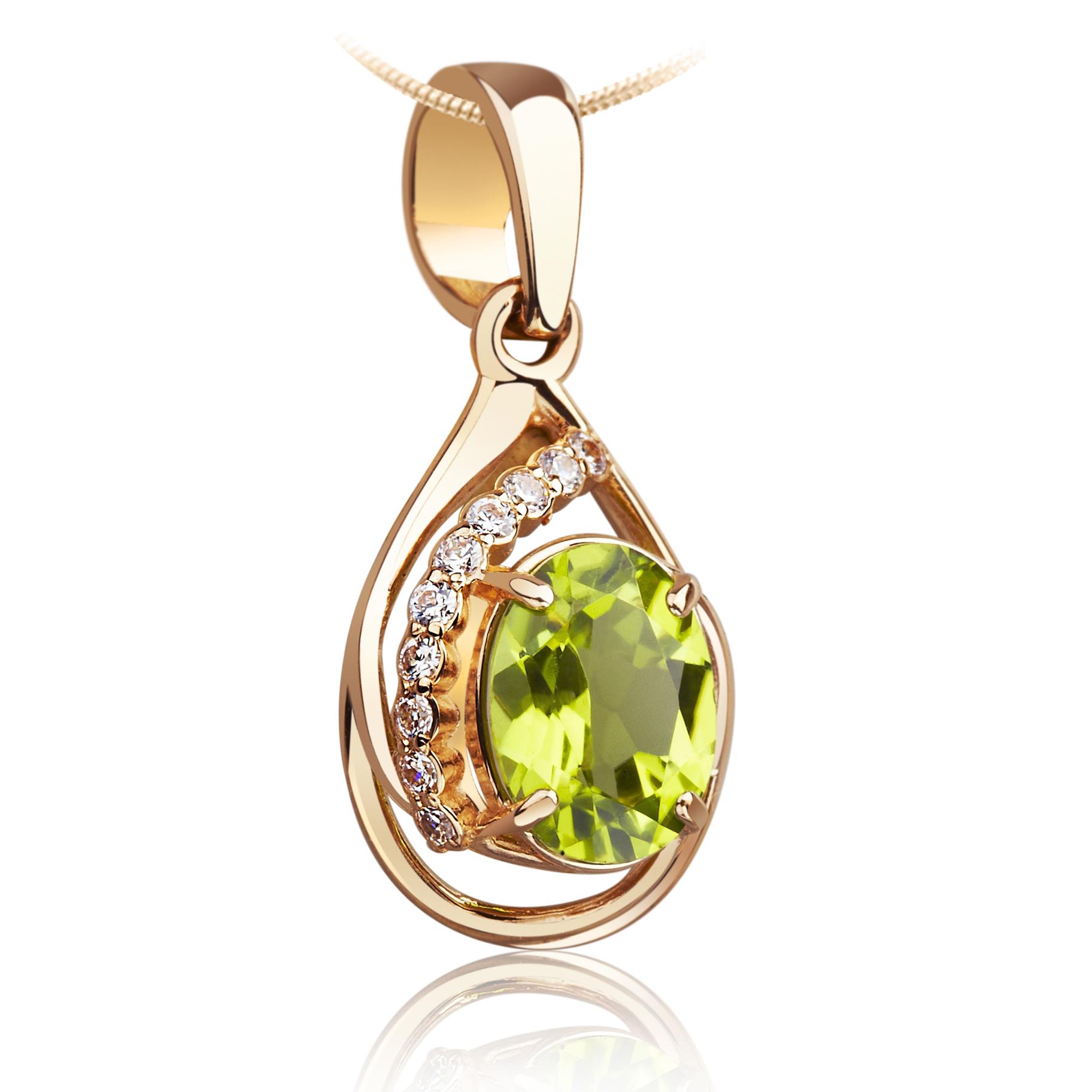 Золотой кулон с хризолитом «Персефона»