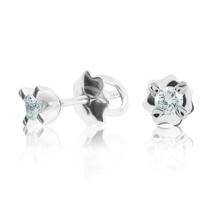 Золоті сережки-гвоздики з діамантами «Міа»