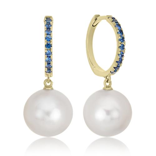Золоті сережки з перлами і сапфірами «Luigi»