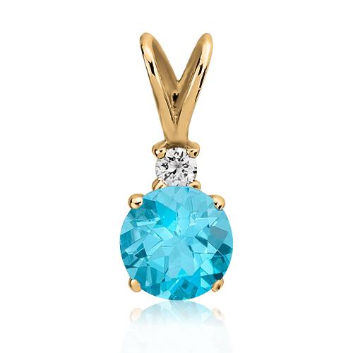 Золотой кулон с топазом и бриллиантом «Adeline»