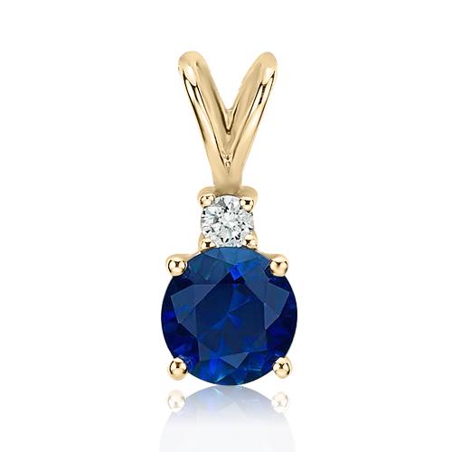 Золотий кулон з сапфіром та діамантом «Adeline»