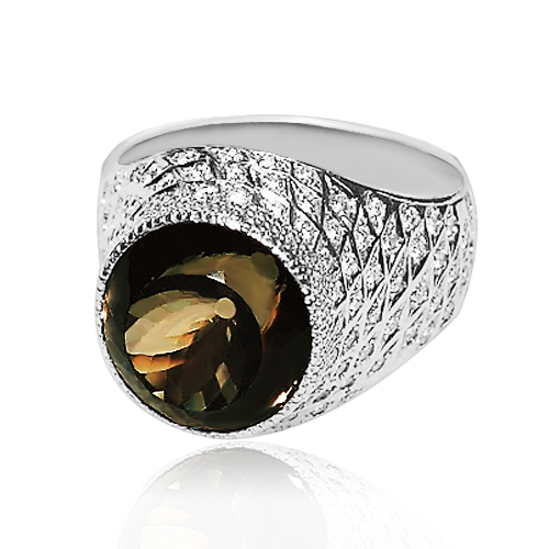 Золоте кільце з раухтопазом і діамантами «Цезаріо»
