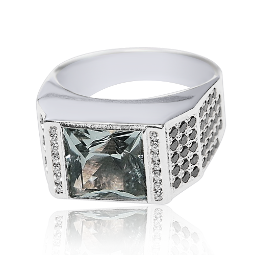 Золоте кільце з гірським кришталем і діамантами «Franco»