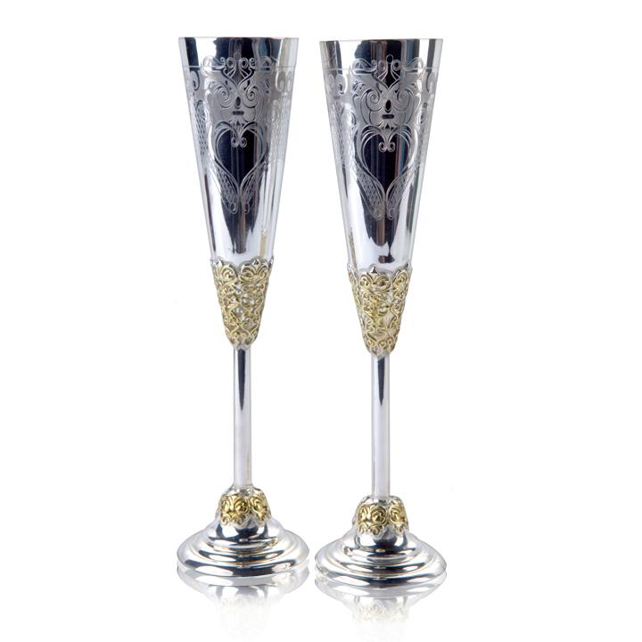 Набор свадебных бокалов из серебра