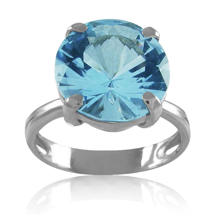 Золотое кольцо с голубым топазом «Небесные грани»