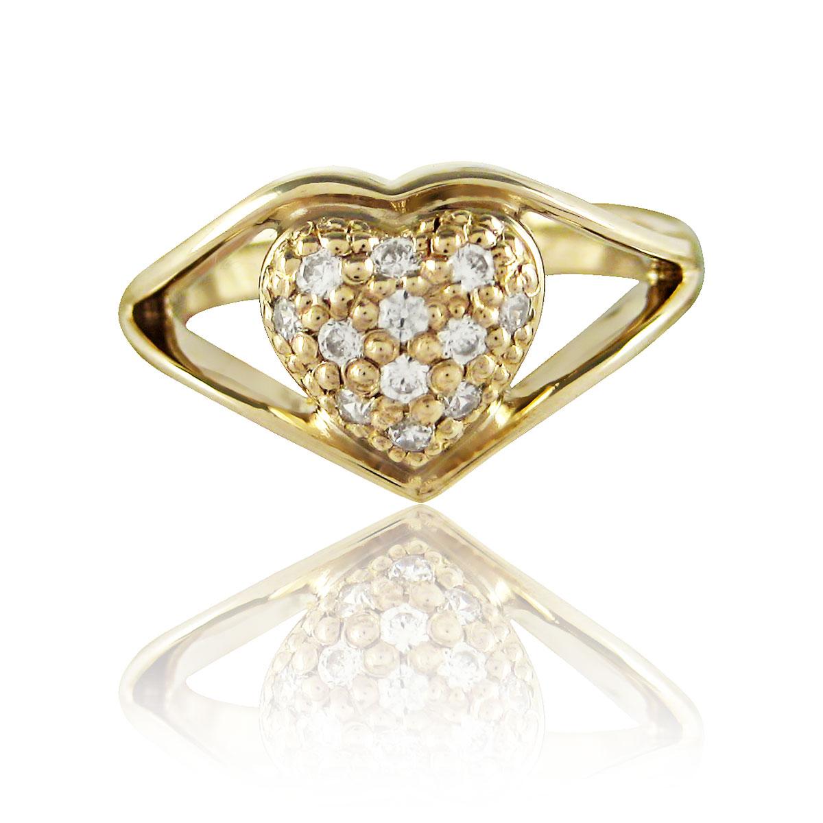 Золоте кільце з діамантом «Наші заручини-I»