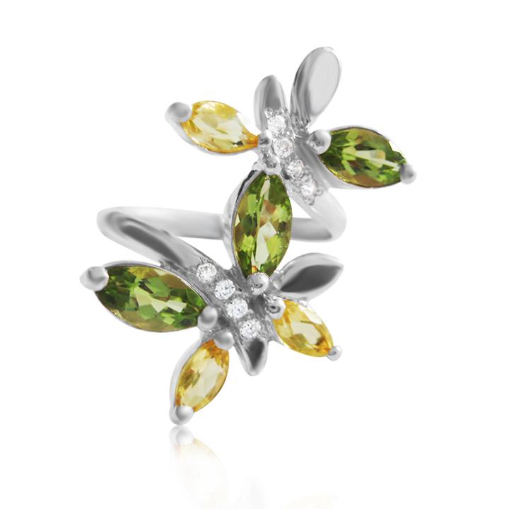 Золотое кольцо с цветными камнями хризолит цитрин