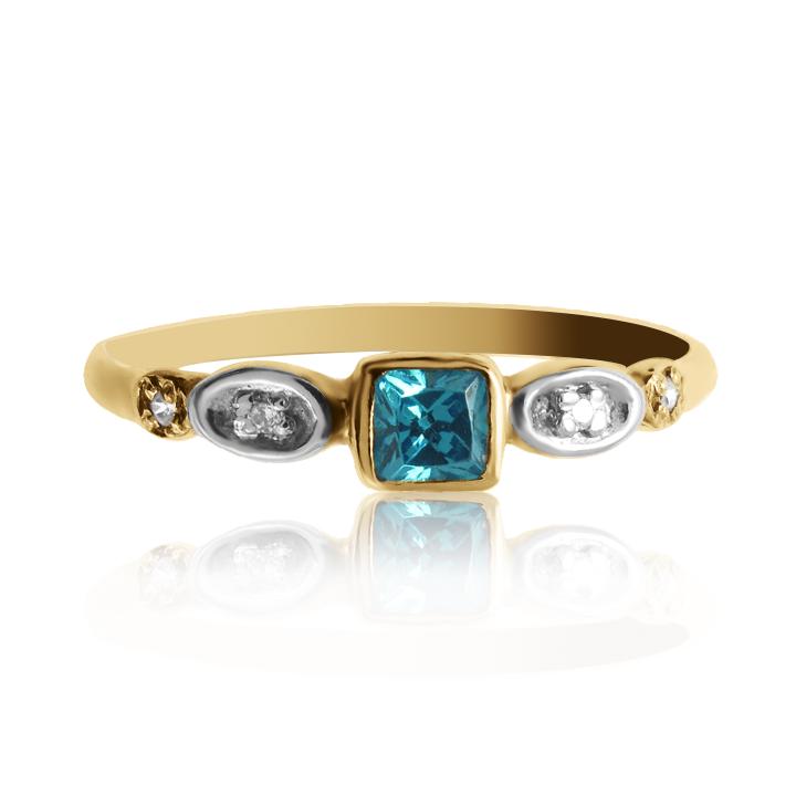 Женское колечко с изумрудом и бриллиантами «Гвен»