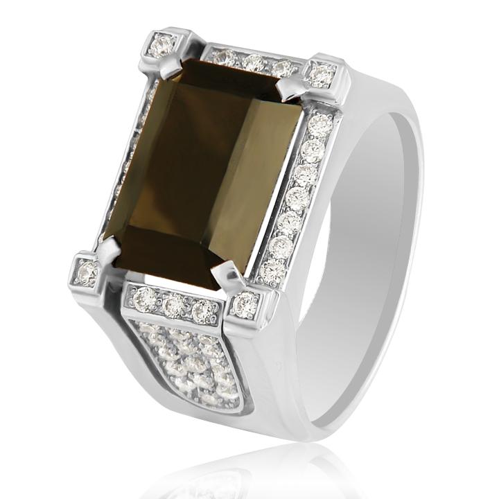 Золотой мужской перстень с кварцем белое золото