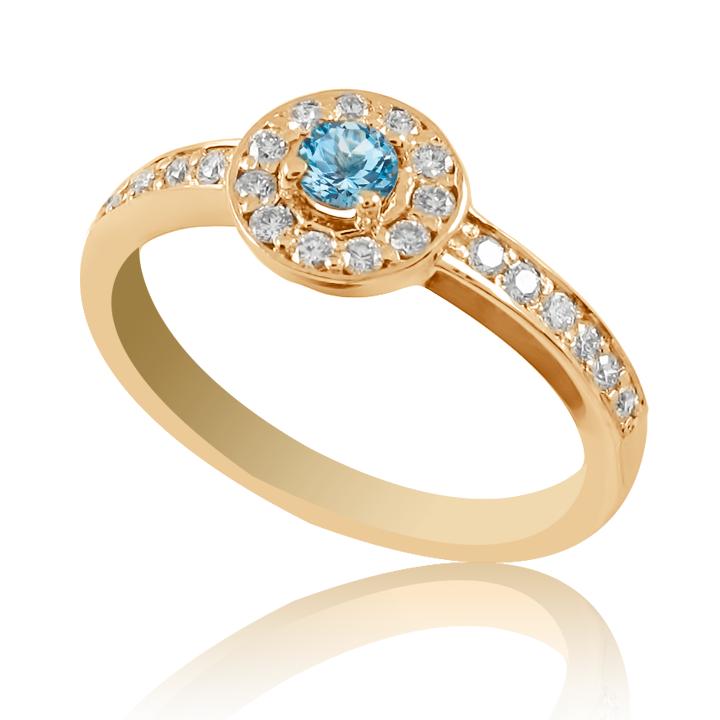 Помолвочное кольцо с топазом и бриллиантами «Гиза»