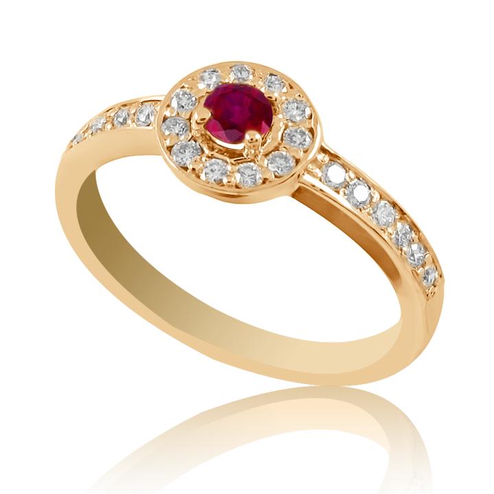 Золотое кольцо с рубинами и бриллиантами «Гиза»