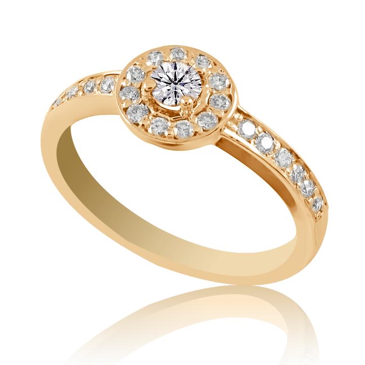Кольцо на помолвку бриллиантами красное золото
