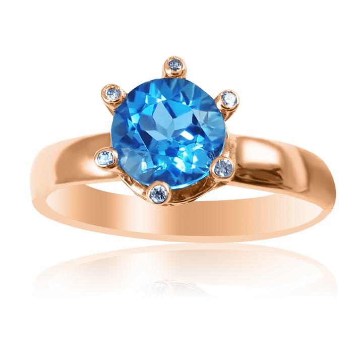 Золотое кольцо корона с топазом «Be mine»