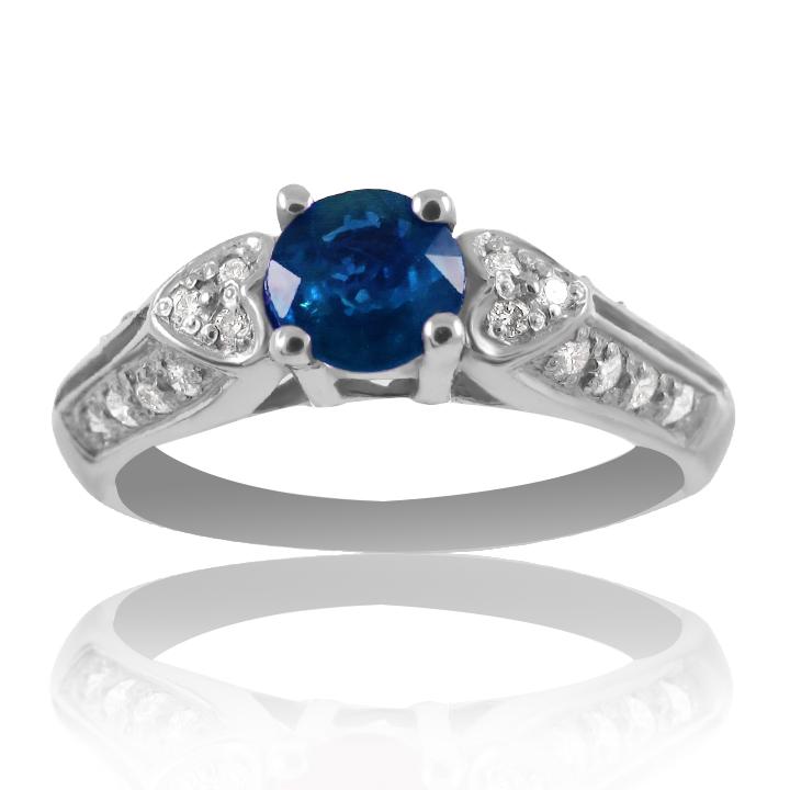 Золоте кольцо заручальне з сапфіром і діамантами «Біле серце»