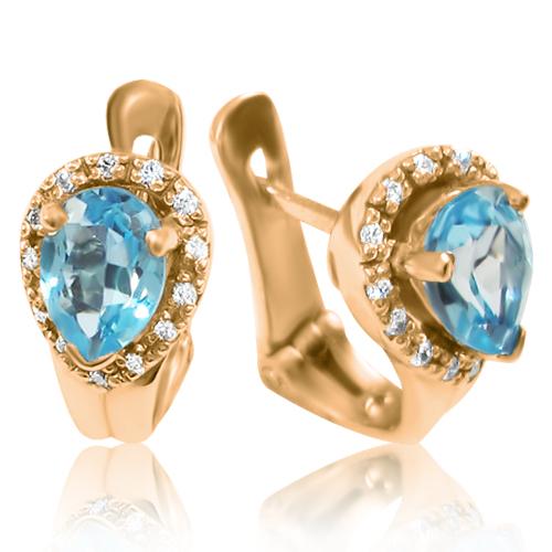 Золотые серьги с синим топазом «Исида»