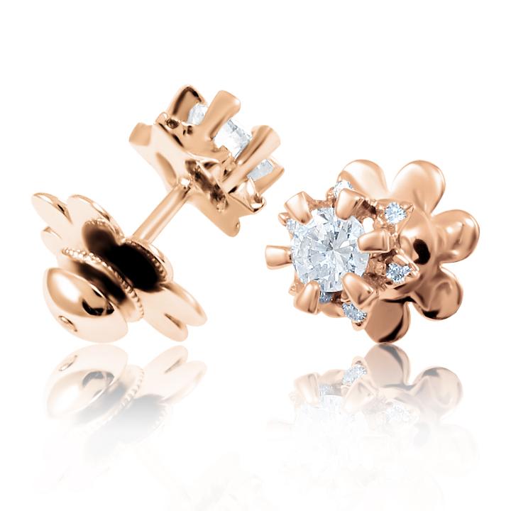 Золоті сережки-пусети з діамантами «Nellie»