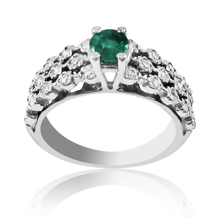 Золотое кольцо с изумрудом «Созвездие»