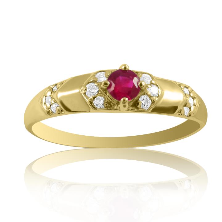 Золота каблучка з діамантами і рубіном «Ноа»