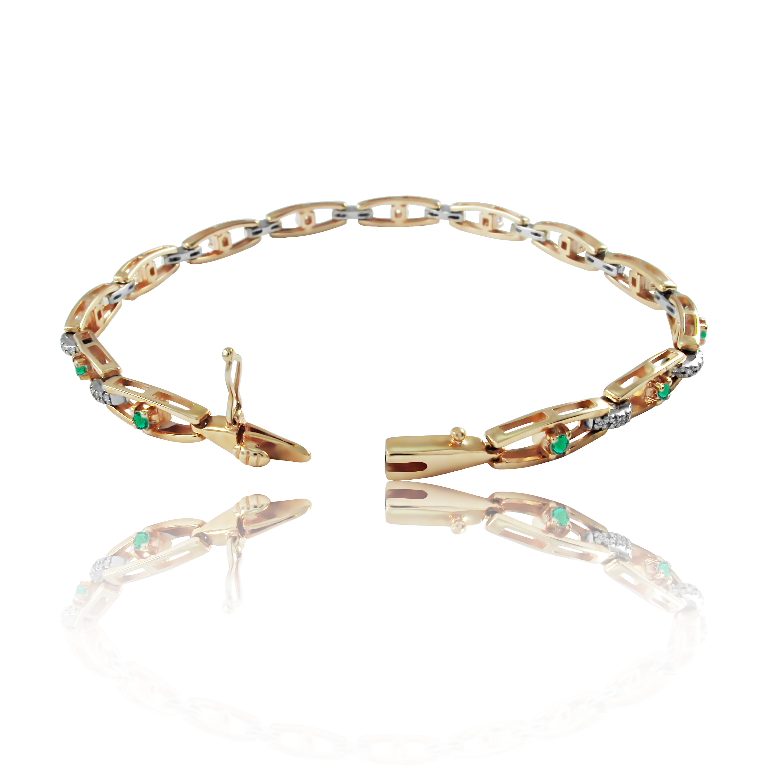 Золотой браслет с изумрудами «Emerald Eyes»